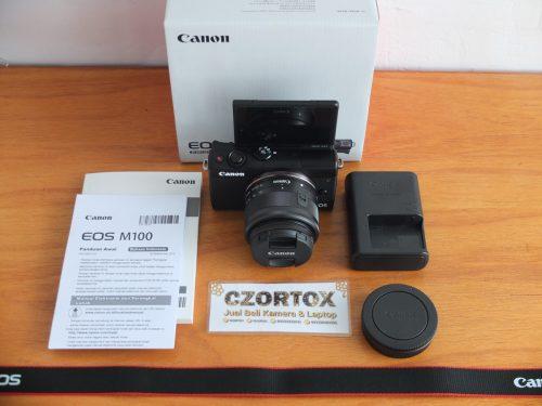 Canon M100 Kit 15-45mm Flip Screen Like New Umur 2 Minggu